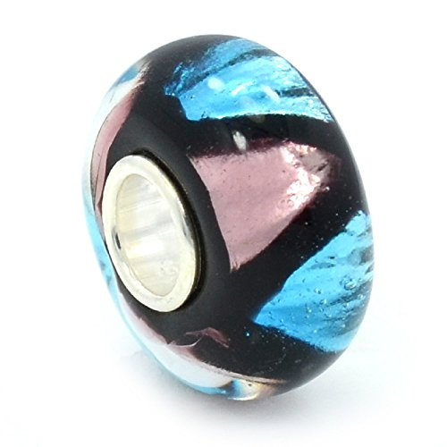 PJewelry 925 Solid Sterling Silver Metallic Pink and Blue Triangular Design Glass Charm Bead