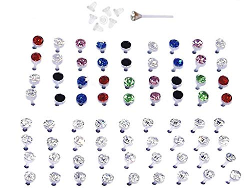 Set of Nylon Posts Plastic Posts Crystal Stud Hypoallergenic Earrings (18 Pairs Multi Color and 18 Pairs Clear Crystals)