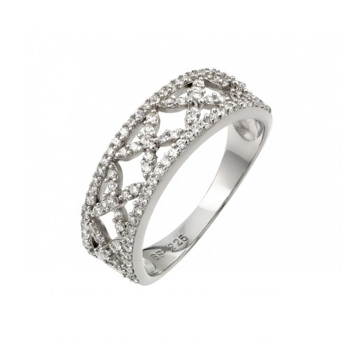 Clear Pave Set Cubic Zirconia Decorative Ring Rhodium Plated Sterling Silver Size 6 (Six Prong Pave Set)