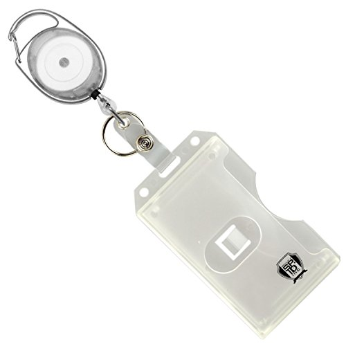 Specialist ID Carabiner Badge Reel with Vertical Multi Card Badge Holder and Key Ring - Max Weight 2 ID Cards & 1 Key (Clear)