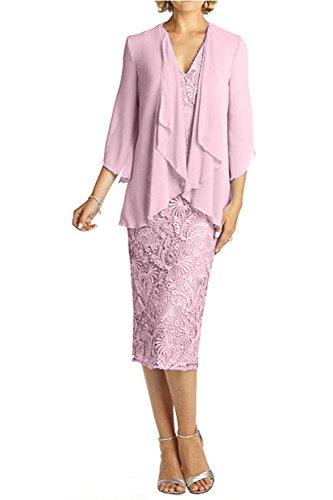 V Ballkleider Glamour Ausschnitt Lang Charmant Abendkleider mit Knie Rosa Bolero Damen Spitze Brautmutterkleider Hell 8ERqRw6nU