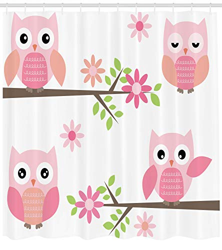 Ambesonne Owl Shower Curtain, Baby Owls Waving in The Floral Tree Springtime Girly Design Print, Cloth Fabric Bathroom Decor Set with Hooks, 75