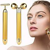 2-in-1 Face Massager Roller, 24k Facial Golden