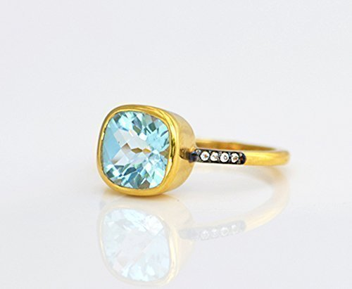Blue Topaz pave ring, white topaz paved ring, Vermeil Gold or silver, bezel set ring, cushion ring, blue gemstone ring, December Birthstone ring, square ring, London blue topaz ()