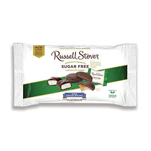 Russell Stover Sugar-Free Dark Chocolate Mix, 10 Ounce Laydown Bag, Sugar-Free Candy, Individually Wrapped Candy, Assorted Chocolate Candy Pack Sweetened with (Any Occasion Sugar Free Candy)