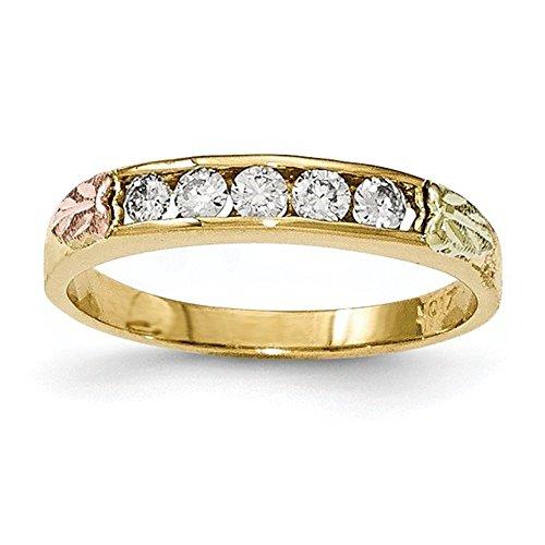 - 10K Tri-Color Gold Black Hills Gold Genuine Diamond Wedding Band Ring (0.25 CTTW, I-J Color, I2 Clarity)