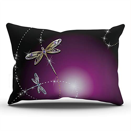 (Hoooottle Custom Gold Dragonflies in Purple Decorative Pillowcase Throw Pillow Case Cover Zippered King One Side Printed 20x36 Inches)