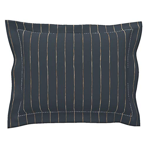 Stripe Flanged Pillow Sham Copper Lines Stripes On Navy Stripe Pin Stripe Thin Minimalist Metallic Rose Gold Indigo Blue by Crystal Walen 100% Cotton Sateen