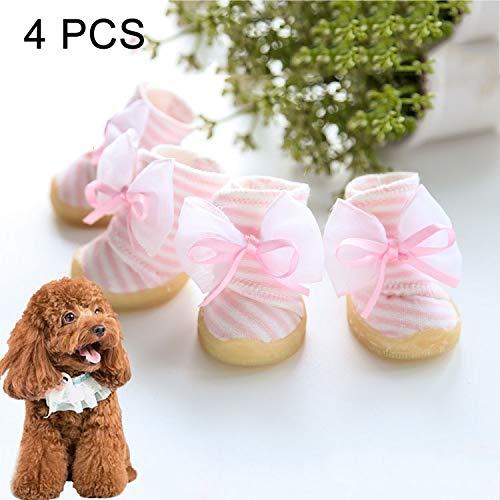 Hc3158r Pet Supplies 4 PCS Bowknot Stripe shoes Wear-Resistant Anti-Slip Pet Dog shoes, Length  4.0cm, Width  3.4cm, Random color and Style Delivery (Size   Hc3158r)