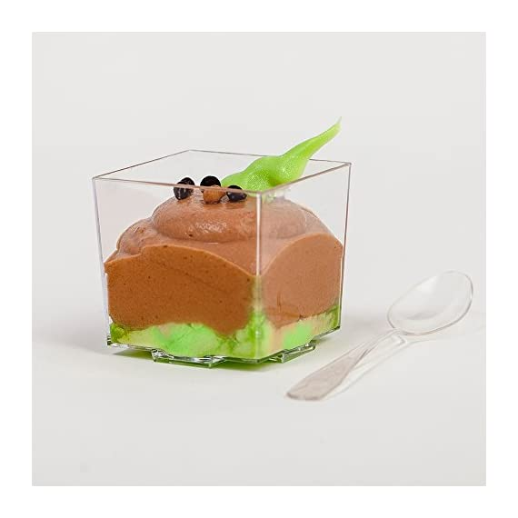 """Mini Plastic Dessert Cups 36 x 2 oz with 36 Spoons - Serving Glasses for Parfait Appetizer Trifle Mousse - Small Square Bowls - Shooter Cup - For Party Supplies - Disposable - Free Recipe Ebook 5 ✅ A COMPLETE SOLUTION TO MAKE YOUR PARTY A HIT - With this set, you will get everything you need to prepare fancy food for your party, plus the """"WOW-EFFECT"""" ON YOUR GUESTS; Also included is our Mini Cups EASY DESSERT RECIPES eBook with 20 superb easy-to-make no bake recipes you can use to impress your guests. ✅ SIMPLE, QUICK, CONVENIENT - use our simple no bake recipes to prepare your own culinary creations quickly; The tiny cups are very easy to fill and serve; The clean-up is easy; THE SPOONS are just the size they have to be and will really help you out at your event; You can also use the spoons as top decorations on your treats; REUSABLE - just wash and dry and use again or dispose - the plastic is 100% RECYCLABLE. ✅ PROFESSIONAL APPEARANCE AND STYLE - The mini cups are a perfect size for desserts, appetizers, tasters, treats or any other bite-sized food; With little effort, you will present your food professionally and with style; These cups are always a hit at the party and an easy way for you to make your guests go """"wow""""; Get ready for a shower of compliments!"""
