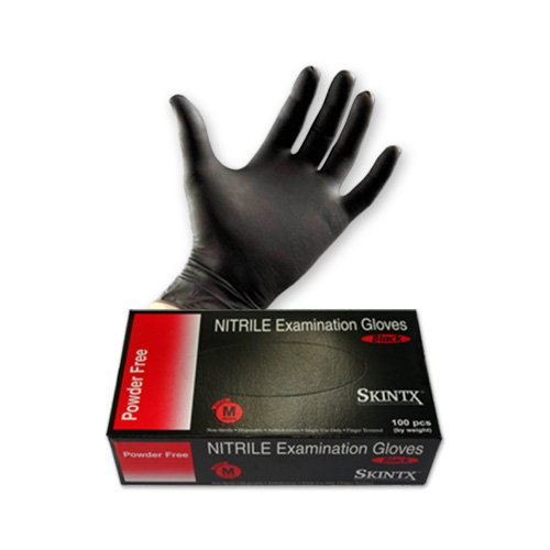 SKINTX Nitrile Exam Glove BLK50005 Black Powder Free, Small