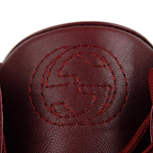 b398fbe28456 Gucci High Top Strong Dark Red Leather Sneakers with Strap 386738 ...