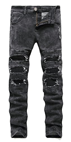 FREDD MARSHALL Men's Biker Moto Skinny Ripped Patched Stitched Stretch Fit Jeans,Black,W36x32L
