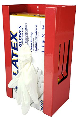 Rubber Gloves Box Holder, Magnetic or Wall Mount, Holds Mechanic, Exam, and Chef Gloves, Latex and Non Latex, Great Tool Box, Garage, or Shop Organizer, Also Can Be Used as a Tissue Box Holder, Red (Chefs Tool Box)