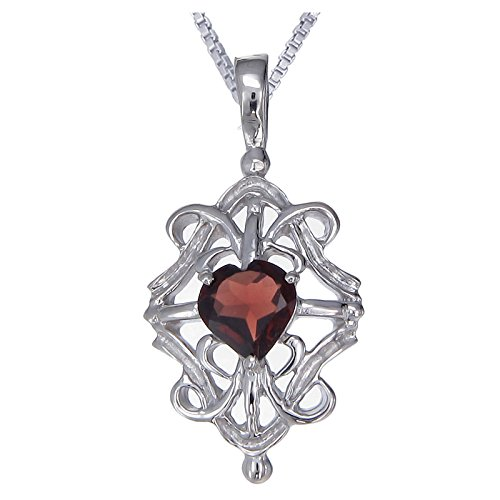 Sterling Silver Garnet Heart Pendant (1 CT) With 18 Inch Chain