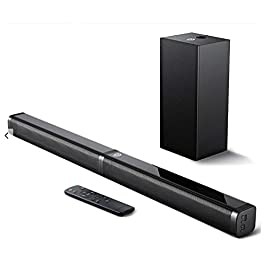 Sound Bar with Subwoofer, Bomaker Ultra-Slim 2.1 CH Sound Bars for TV, 100W/110dB, 5 EQ Modes, 31 Inch, Works with 4K…