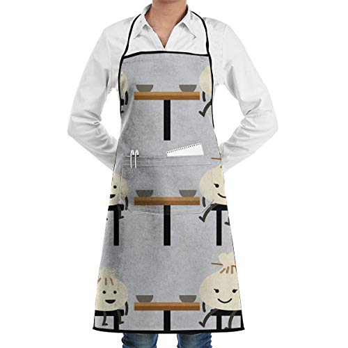 Cartoon Cha Siu Bao Food Aprons Bib Adjustable Polyester Adult Long Full Kitchen Chef Cooking Gardening Apron for Outdoor Restaurant BBQ Serving Grill Cleaning Crafting -