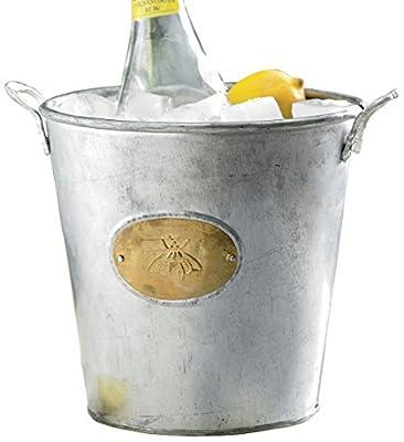 KINDWER Galvanized Bumble Bee Bucket, Silver
