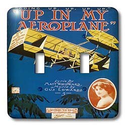 3dRose LLC 3dRose LLC lsp_154826_2 Up in My Aeroplane Song Sheet Cover with Biplane Flying in the Sky - Double Toggle Switch