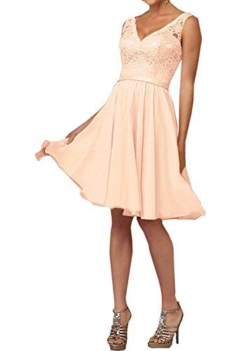 Damen Abendkleider mia Perlen Rosa Ausschnitt Partykleider Brautjungfernkleider Orange V Braut Kurzes Knielang La q0O4EE