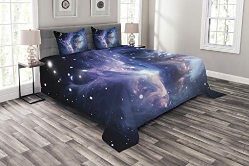 Lunarable Outer Space Bedspread Set Queen Size, Mysterious Nebula Gas Cloud in Deep Ouuter Space with Cluster Universe Solar, Decorative Quilted 3 Piece Coverlet Set with 2 Pillow Shams, Navy Purple by Lunarable