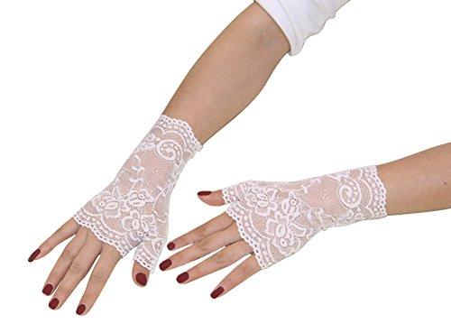 FloYoung Women Bridal Short Lace Half Finger Party Dress Gloves -