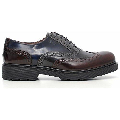 Nero Giardini - Zapatos de cordones de Piel para mujer Bordò/Antracite/Blu