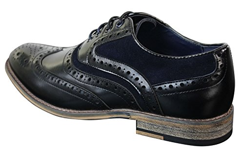 Daim Cuir Chic Richelieu Marine Chaussures Look Gatsby Décontracté Et Rétro Homme Véritable bleu Style Noir xZ00qXU1