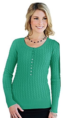 Cable Henley Sweater - Tri-mountain Womens 100% Cotton Long Sleeves Henley Cable Sweater. LB922 - JADE_L