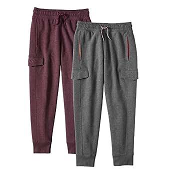 Alki'i Boys 2-Pack Ultra Soft Fleece Cargo Jogger Pants with Pockets CharcoalBurgundy M