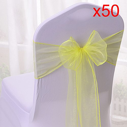 10/20/50/100pcs Organza Chair Sashes Bows Ribbons Covers for Wedding Supplies Events Party Reception Banquet Decoration Elegant 10 Colors(50PCS, Yellow) from Boshen