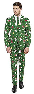OppoSuits Mens Ugly Christmas Green Party Suit - Ugly Xmas Sweater Costume