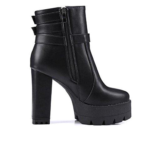 Zapatos de tacón altos para mujer lado cremallera cordones botines black