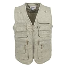LUSI MADAM Men's Stone Washed Denim Multi-pocketed Fishing Vest