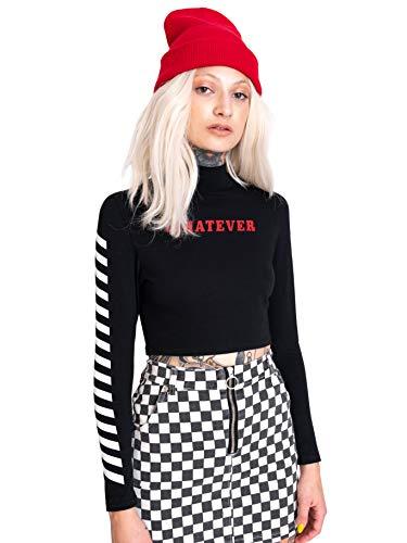 Whatever Crop Top Long Sleeve Women's Tumblr Grunge Retro Fashion Cute Vtg Goth Kawaii Check Black