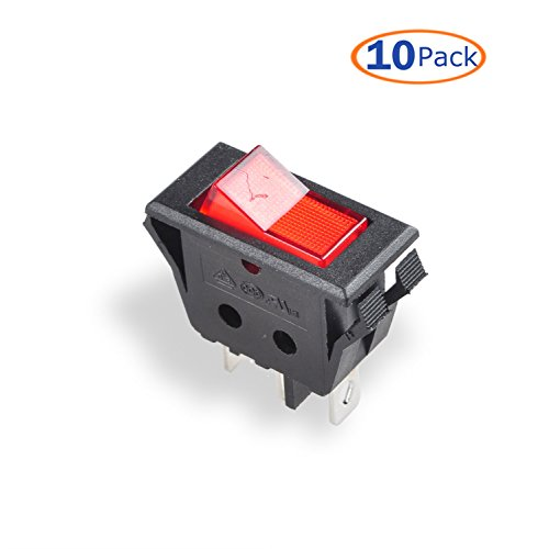 Conwork 10-Pack SPST Type 3 Pin 2 Position ON/OFF Boat Rocker Switch with Red Indicator Light 15A/125V 10A/250V AC for Truck Car - Red (10a Rocker Switch)