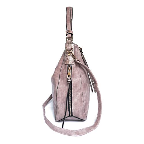 Casual Soft with Tassel Red Shoulder Leather Pu Women's Bag Zipper Rose qdCYR