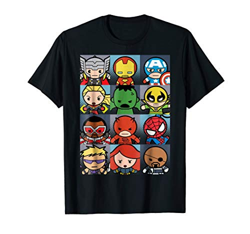 Marvel Heroes Boxed Up Kawaii Graphic T-Shirt]()
