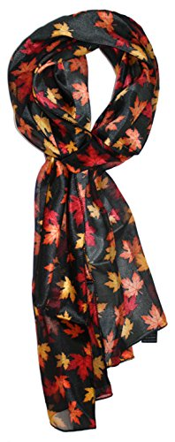 Ted and Jack - Fall Foliage Pattern Silk Feel Scarf (Allover Leaves)
