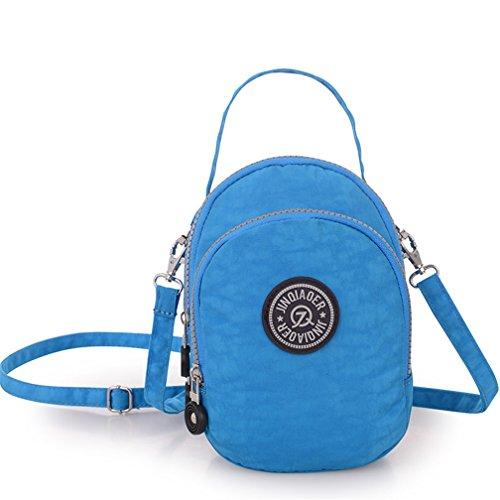 tianhengyi Nylon resistente de agua pequeño bolso bandolera bolso de mano Monedero de tres capas bolsa de teléfono celular para adolescentes Azul (Sky Blue)