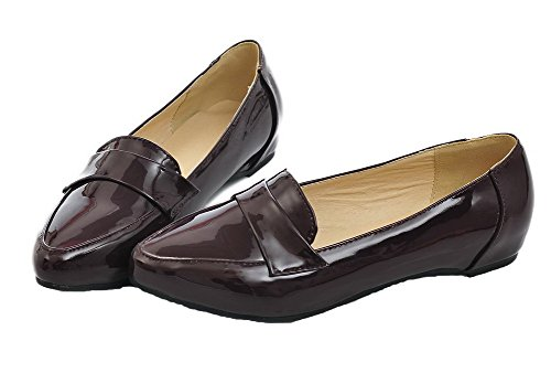 Pumps PU geschlossener Absatz Damen Zehenpartie VogueZone009 mit Schuhen niedrigem Dunkelbraun und und fEq050