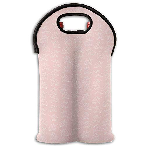 White Unicorn in Pink 2 Bottle Wine Tote Carrier Bag Portable Insulated Polyester Beer Hand Bag for Travel,Picnic,Party