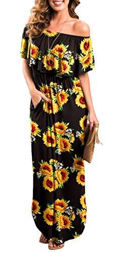 Womens Off The Shoulder Ruffle Party Dresses Side Split Beach Maxi Dress Flower01 XS