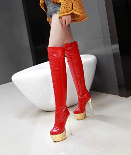 Fin Discothèque Red Bottes Ronde Plateforme Surélevé Étanche Femme Tête Bottes Genou Avec Talon Oversized Sexy Over Code The Small RwUWqrREn
