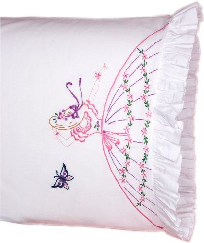 - Fairway Needlecraft 82525 Vintage Ruffled Edge Pillowcases, Butterfly Lady Design, Standard Size, White