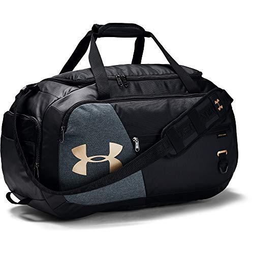 Under Armour unisex-adult Undeniable Duffle 4.0 Gym Bag, Black (002)/Metallic Gold, Medium