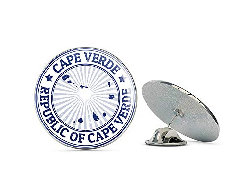 "Leyland Designs Cape Verde Map Grunge Rubber Stamp Metal 0.75"" Lapel Hat Pin Tie Shirt Backpack Tack Pinback"