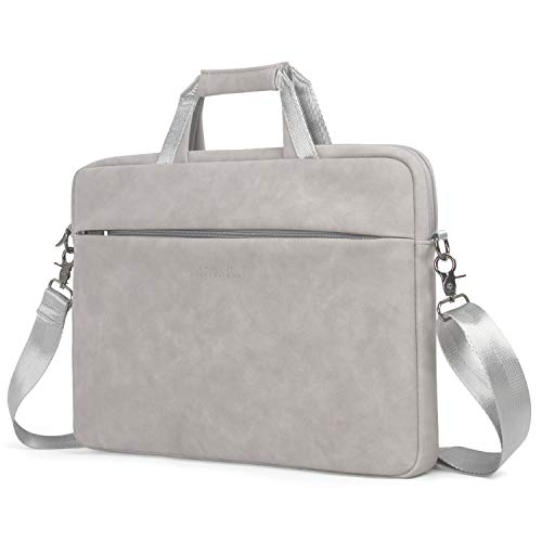 Hewlett Packard Earphones - Kamlui Laptop Bag 14 Inch - for Women - Matte Leather PU Ladies Men Shoulder Messenger Laptop Tote Bag Briefcase - for MacBook Air Dell Lenovo HP Samsung.(Gray)