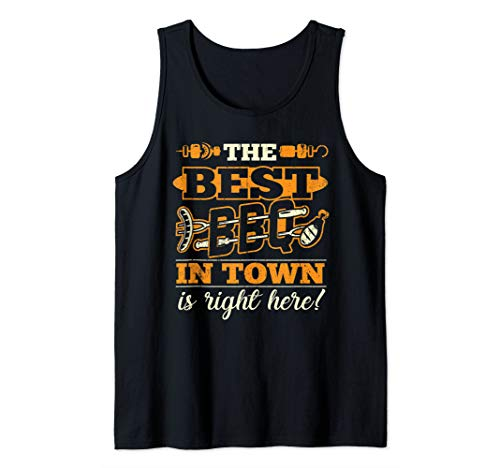 Barbecue Best BBQ In Town Smoker Grillin Grandpa Dad Gifts Tank Top