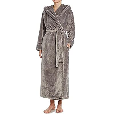 Women man hooded bathrobe plush soft warm fleece robe long spa robe